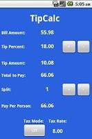 Screenshot of TipCalc Tip Calculator