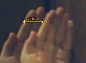 Combined image of a hand from left and right cameras