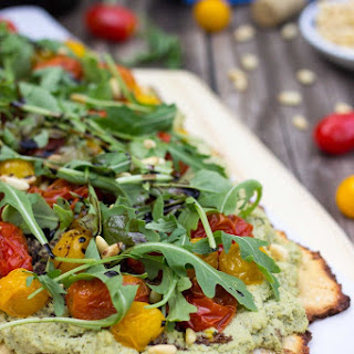 Basil & Roasted Garlic Ricotta Pizza with Roasted Cherry Tomatoes, Arugula & Baslamic Reduction {gf+v}