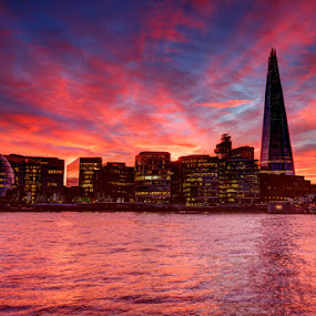 The Shard by Bill Green - Buildings & Architecture Office Buildings & Hotels ( the shard, london bridge, london, the thames, red sunset )