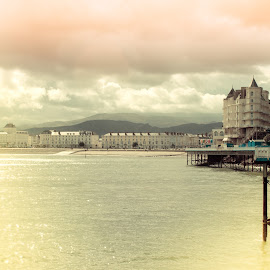 Grand Sky by Gary Seddons - Novices Only Landscapes ( sky, pier, sea, pink, grand hotel, hotels, llandudno, the mood factory, mood, lighting, sassy, colored, colorful, scenic, artificial, lights, scents, senses, hot pink, confident, fun, mood factory ,  )