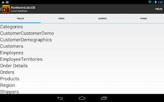 Screenshot of Database