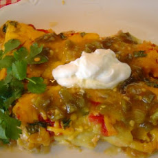 Green, White, and Red Enchiladas
