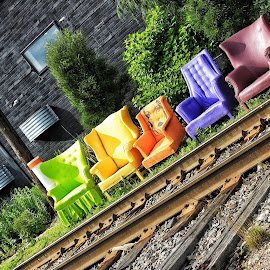 Right Side of the Tracks by Nathan Porath - Artistic Objects Furniture ( wausau, wisconsin, railway, chairs, colorful, art, tracks,  )