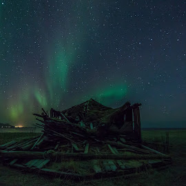 Auroras and stars by Benny Høynes - Landscapes Prairies, Meadows & Fields ( auroras, stars, northern lights, landscape, norway )
