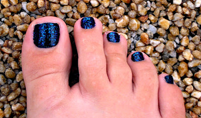 Sinful Colors pedicure in Whats Your Name and Pearl Harbor polishes