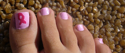 Pink Ribbon Breast Cancer Awareness pedicure