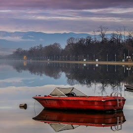 Red boat by Daniel Chobanov - Transportation Boats ( plovdiv, red, rowing, boat, channel, bulgaria )