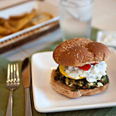 Greek Spinach Feta Burgers with Cucumber Yogurt Sauce
