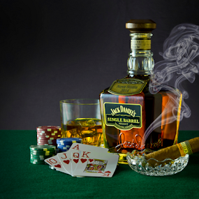 Poker Night by Shaun White - Artistic Objects Still Life ( hearts, poker, gamble, jack, single, nova, whiskey, canada, green, select, tennessee, scotia, bottle, smoke, gambling, cigar, daniel's, smoking, glass, barrel, cards )