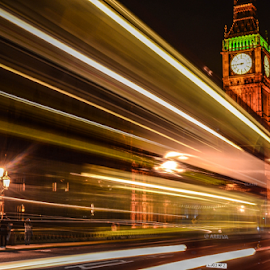 Time Flash by David Kennedy - Travel Locations Landmarks ( landmark, london, night photography, big ben, slow shutter )
