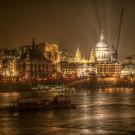 St Paul's by Stephen Hall - City,  Street & Park  Night ( st pauls, london, thames, cathedral, river )