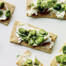 Favas and Ricotta on Buttermilk Crackers
