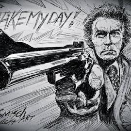 Dirty Harry by David Van der Smissen - Drawing All Drawing ( tekening, portret, art, dirty harry, belgium, david, artist, bic, drawing, ninove, clint eastwood )