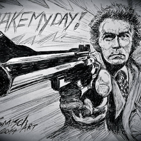 Dirty Harry by David Van der Smissen - Drawing All Drawing ( tekening, portret, art, dirty harry, belgium, david, artist, bic, drawing, ninove, clint eastwood )