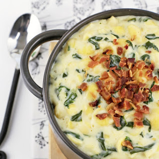 Creamy White Cheddar Shells with Spinach & Bacon