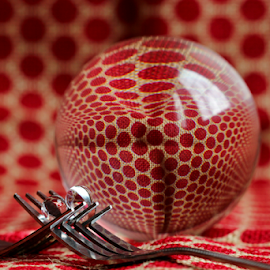 by Dipali S - Artistic Objects Cups, Plates & Utensils ( abstract, reflection, polka dots, fork, red, pattern, artistic, spheres, refraction, small, large )
