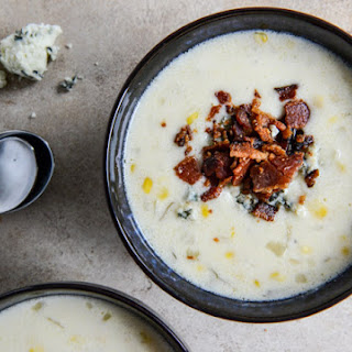 Cheesy Corn Chowder with Bacon + Gorgonzola
