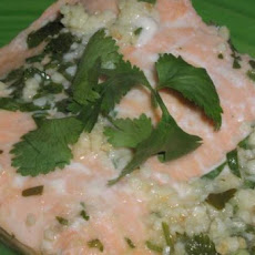 Poached Salmon With Ginger and Cilantro