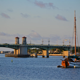 Bridge of Lions by Jan Herren - Buildings & Architecture Bridges & Suspended Structures ( vacation, matanzas river, st. augustine, bridge, sailboat )
