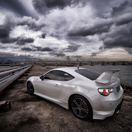 TOY86 by Ferdinand Ludo - Transportation Automobiles ( lovely clouds, lovely day, pearl white, wide angle lens )