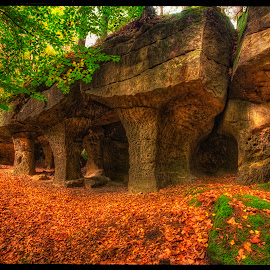 Cave Pustý kostel 2 by Petr Klingr - Landscapes Caves & Formations ( hdr     autumn     cave     leaves     rocks, fall, color, colorful, nature )