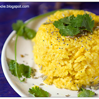 Colorful Vegan Turmeric Rice for the IIP