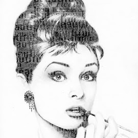 Lovely Audrey by Melinda Willis - Typography Words ( black and white, illustration, audrey hepburn, typography, breakfast at tiffaneys )