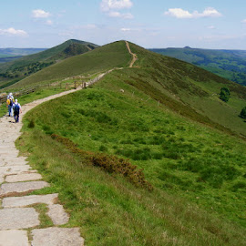 Near Mam Tor by Chrissie Barrow - Landscapes Mountains & Hills ( hills, sky, mam tor, slopes, paved, green, path, landscape, people, fields,  )