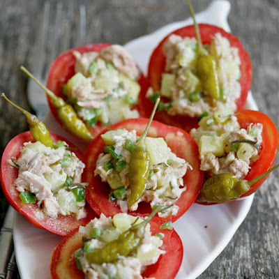 Stuffed Tomato with Tuna, Potato and Pickled Thyme Salad