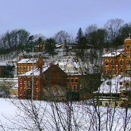 Galena in Winter by Kathy Rose Willis - City,  Street & Park  Vistas ( galena, illinois, brick, churches, snow, white )