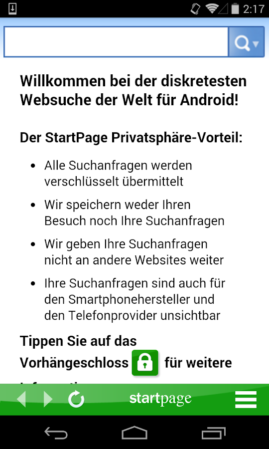 StartPage Private Suche android apps download