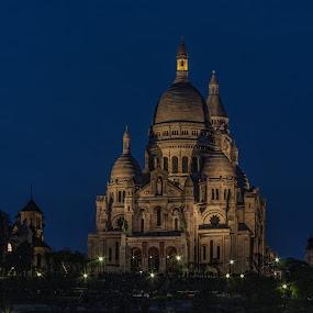 Sacré Coeur - Paris by Marcel de Groot - Buildings & Architecture Places of Worship ( lights, paris, blue, night, sacré coeur )
