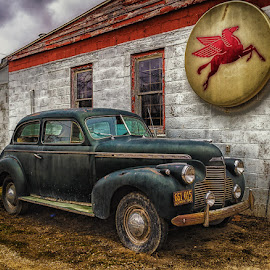 At The Shop by James Kirk - Transportation Automobiles ( car, old, gas station, garage, antique )