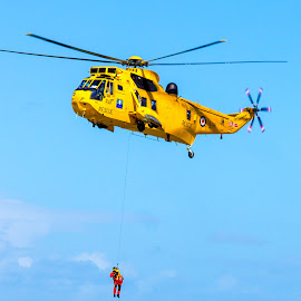 Rescue Helicopter by Dylan Barlow - Transportation Helicopters ( helicopter, sea king, north wales, rescue, raf, llandudno )