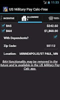 Screenshot of US Military Pay Calc Free