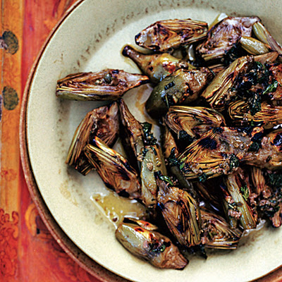 Grilled Baby Artichokes with Caper-Mint Sauce