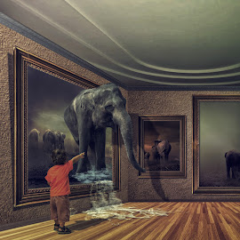out of frame by Hendra YM - Digital Art Animals ( child, frame, gallery, museum )