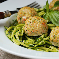 "Chicken Veggie Meatballs with Pesto Zucchini ""Noodles"""