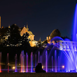 Warsaw in light by Marek Saj - City,  Street & Park  Fountains ( water, lights, dancing, park, fountain, night, light, city,  )
