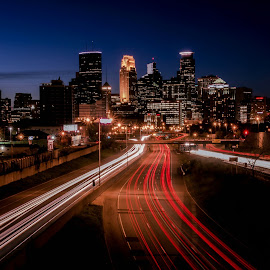 City Slickers by Doug Wallick - City,  Street & Park  Skylines ( exposure, 35w, interstate, skyline, minnesota, blue, minneapolis, streaks, hour, long, light,  )