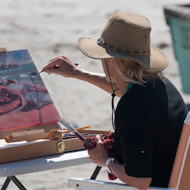 Artist at Work. by Max Möhr - Artistic Objects Still Life ( sand, bay, boats, art, sea, paint, artist, painter, fishing )