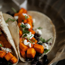 Sriracha Marinated Butternut Squash and Black Bean Tacos