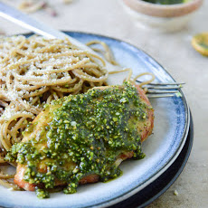 Pistachio Pesto Chicken with Whole Wheat Spaghetti