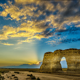 Sunset at Monument Rocks by Rusty Parkhurst - Landscapes Sunsets & Sunrises ( oakley, sunset, kansas, monument rocks )