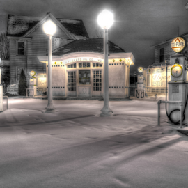 Old Sears Oil Co. gas station. by Blaine Stauffer - City,  Street & Park  Historic Districts (  )