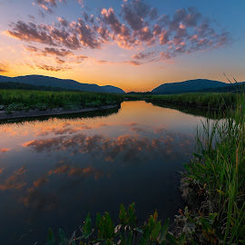 Constitution Marsh Sunset by Sergio Smiriglio - Landscapes Waterscapes ( hudson highlands, water reflection, sunset, audubon, sergio smiriglio, breakneck mountain, storm king mountain, sony a7, cold spring, constitution marsh, hudson river )