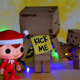 Elf On Shelf Messing With Danbo by Lin Fauke - Artistic Objects Toys ( lights, sign, danbo, danboard, elf on shelf, christmas, holidays, elf )
