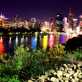 City Glow - Brisbane City by Night by Linda Taylor - City,  Street & Park  Skylines ( architechture, kangaroo point area, australia, brisbane cbd skyline, city lights, night, cityscape, se qld, landscape, river )