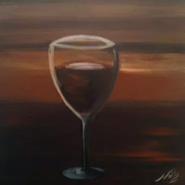 my cup by Noele Hachach - Drawing All Drawing ( wine, cup, orange, wine glass, table )
